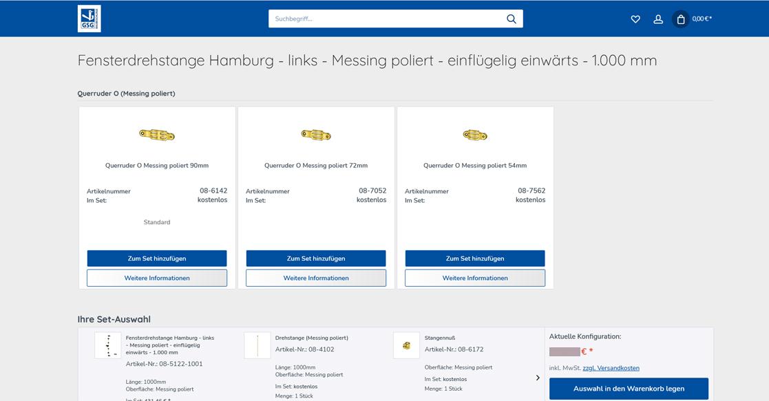 GSG Baubeschläge Konfigurator und Onlineshop | MUBVideoDesign
