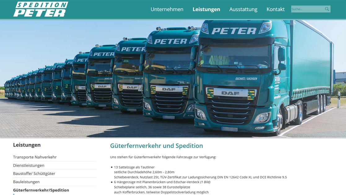 Projekt Website Relaunch Spedition Peter | MUBVideoDesign