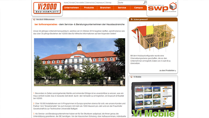 SWP Softwareparadies mobile Website